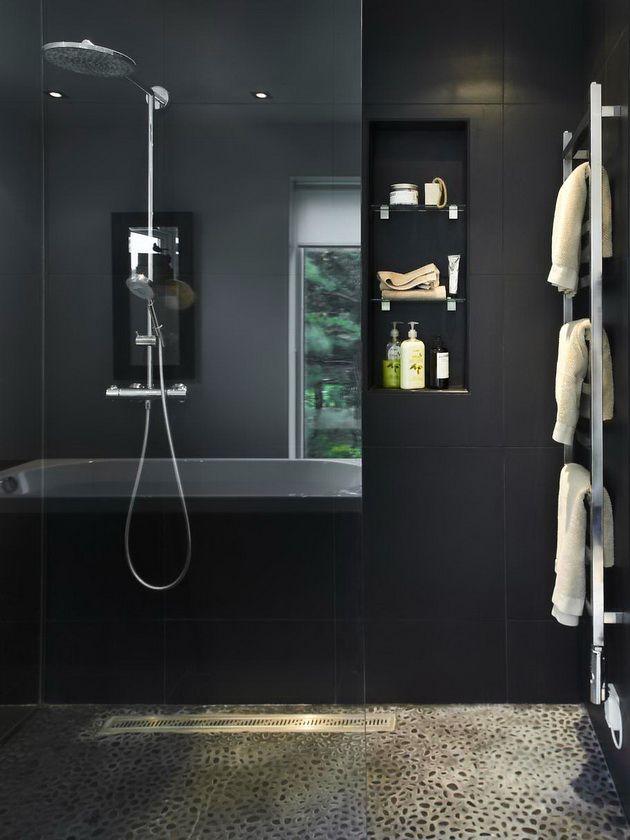 ladder towel hanger and glass background for shower