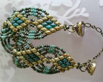 Beaded Jewelry, Bead Woven Bracelet, Super Duo Beads, Miyuki Seed Beads, Green and Turquoise, Magnetic Clasp, Gift for Her