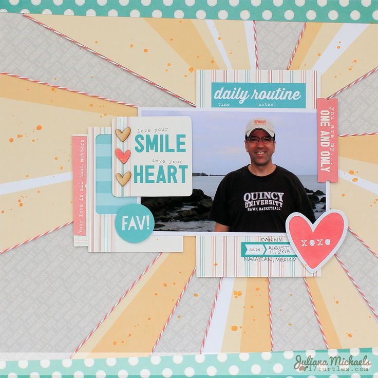 Love Your Smile Scrapbook Page by Juliana Michaels featuring @ellesstudiopins August 2014 Exclusive Kit, Shine collection, Everyday Moments collection, Love You More collection, @thetwinery Twine