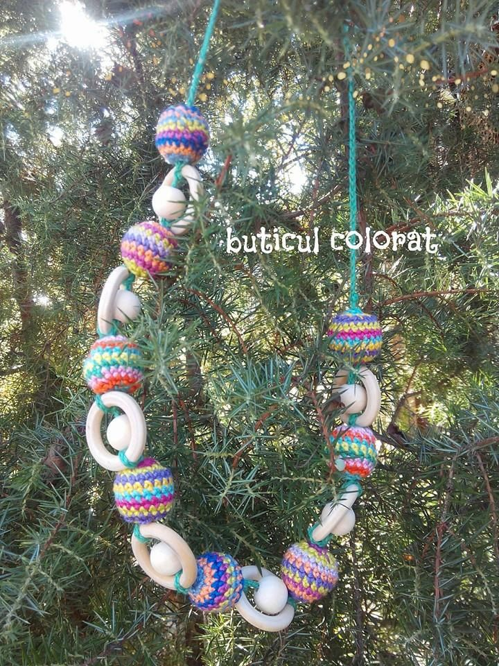 Babywearing necklace, crochet beads, nursing necklace, sling accesorie, Christmas globes, garland inspiration, multicolor, rainbow by ButiculColorat on Etsy