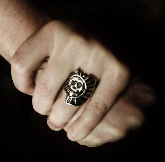 Skull Ring Aztec ring Pirate Ring Disco de by BlastRingCompany