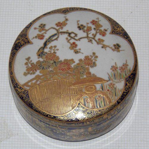BOITE-RONDE-ANCIENNE-EN-FAIENCE-DE-SATSUMA-Japon-XIX-Porcelaine-Chine