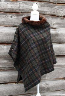 Harriet Hoot Harris Tweed & Vintage Fur Poncho