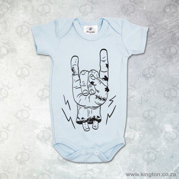 Zombie Rock - Blue babygrow with #zombie #Rock hand for boys. #KingtonKustomKulture