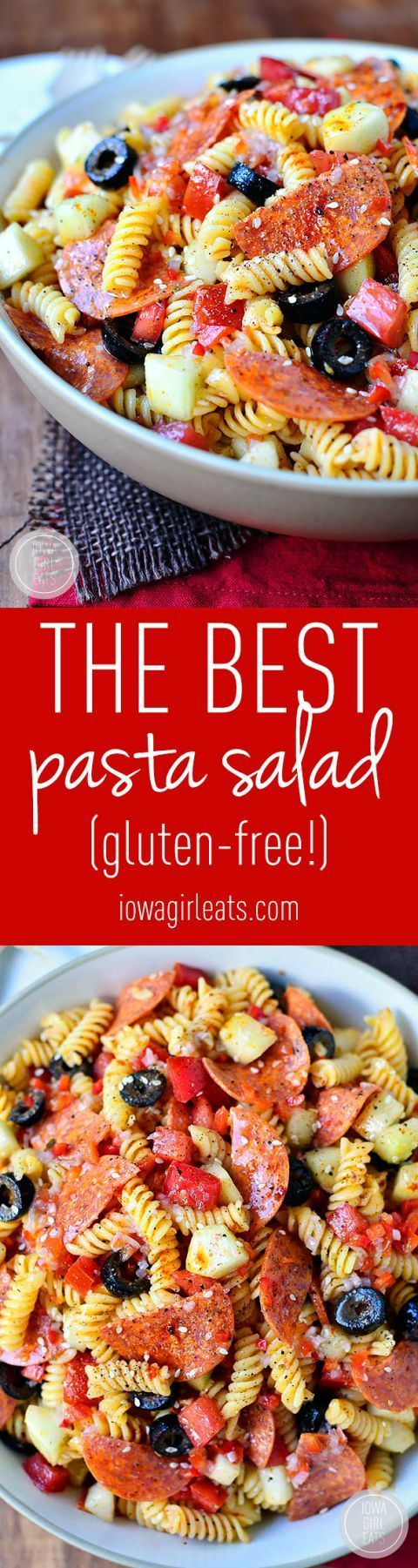 The BEST Pasta Salad The BEST Pasta Salad is an old family recipe. Simple and simply the best (easily made gluten-free, too!) #glutenfree | iowagirleats.com https://www.pinterest.com/pin/231020655869799688/