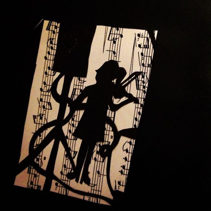 papercut, fiddler, black and white, music