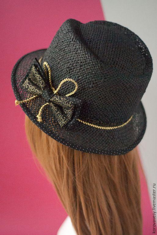 """Купить Соломенная шляпа """"Летняя ночь"""" - черный, золотой, федора, соломенная шляпка, Соломка"""