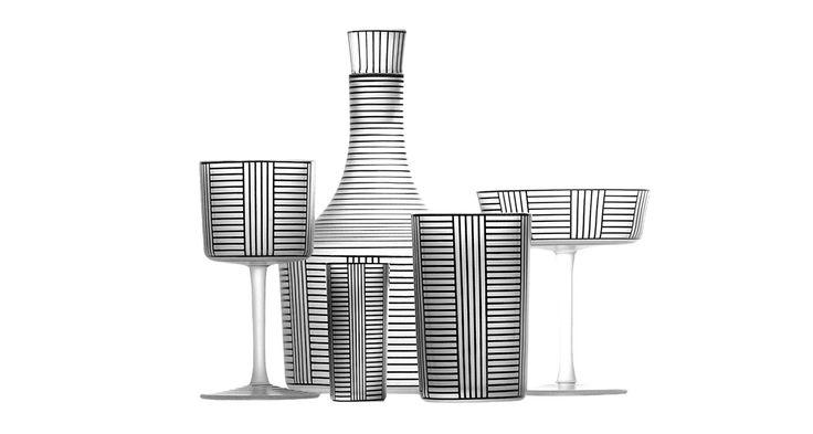 Black white geometric crystal design from Lobmeyr