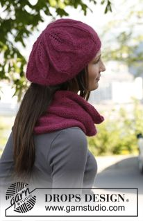 """Set consists of: Knitted DROPS neck warmer and hat with flower pattern in """"Kid-Silk"""" and """"Alpaca"""". ~ DROPS Design"""