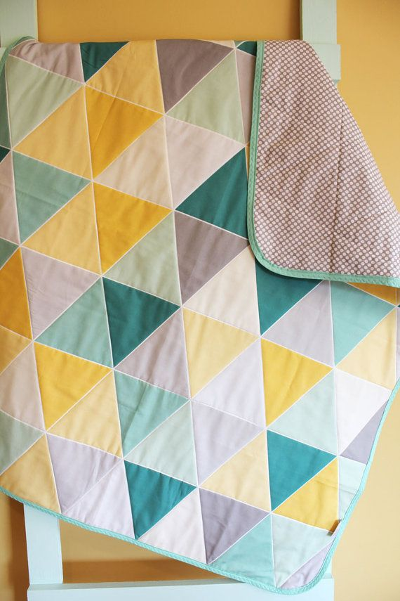 Mint Teal GEOMETRIC triangle quilt by PETUNIAS blanket crib nursery decor baby shower gift newborn photo prop hipster modern chevron gray on Etsy, $105.59 AUD