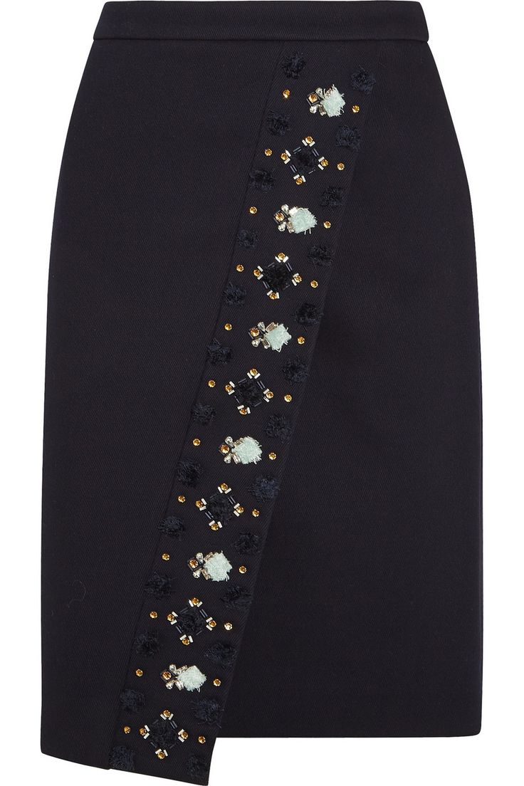 J.Crew|Collection embellished bonded-twill skirt|NET-A-PORTER.COM, $270, 69/28/3 poly/viscose/elastane, poly lining