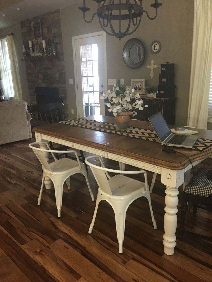 Painted And Distressed Kitchen Table With Chalk Paint Added Some Farmhouse Style Chairs In White