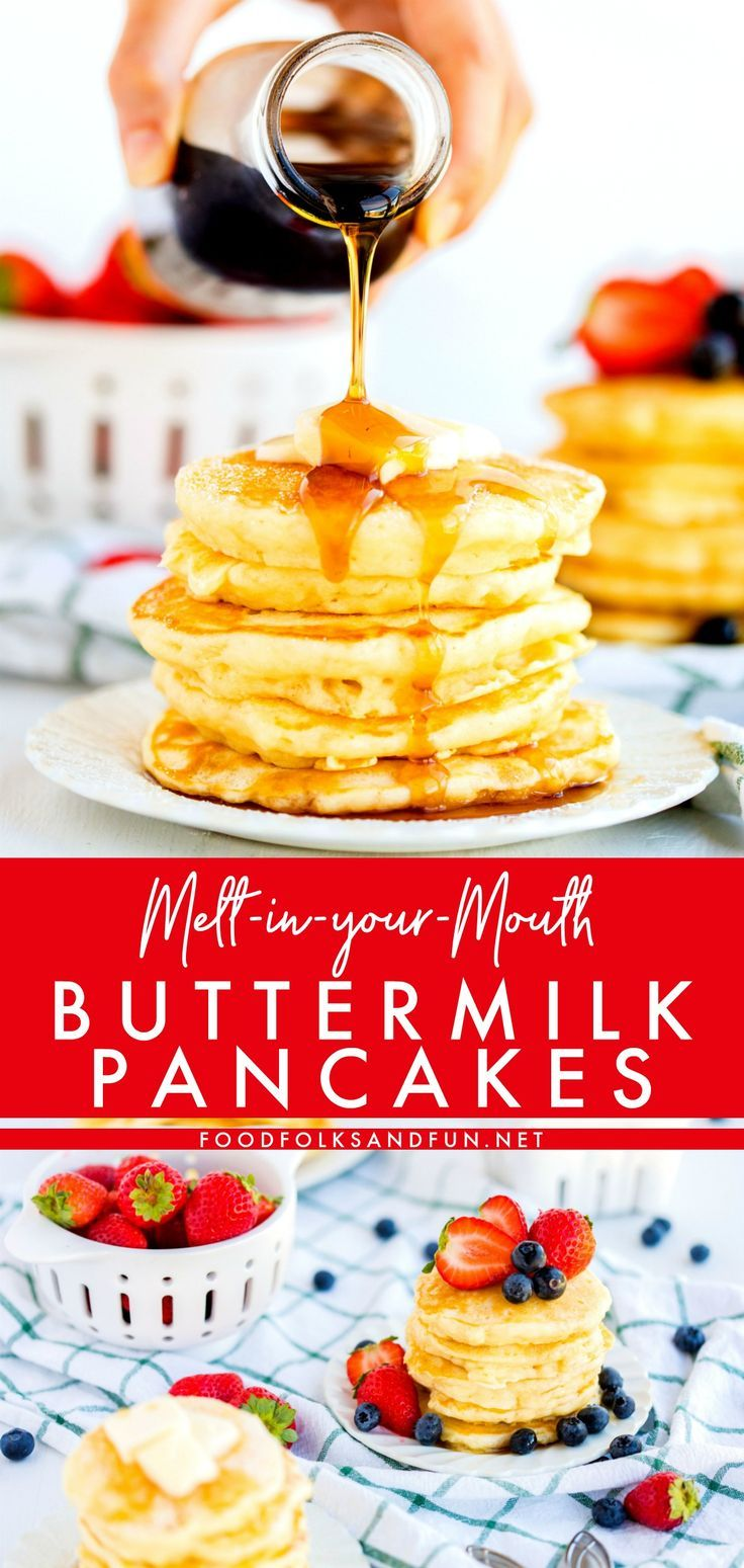 Say Goodbye To Boxed Pancake Mix Because These Fluffy Buttermilk Pancakes Are Buttery Delicious Breakfast Recipes Buttermilk Pancakes Breakfast Brunch Recipes