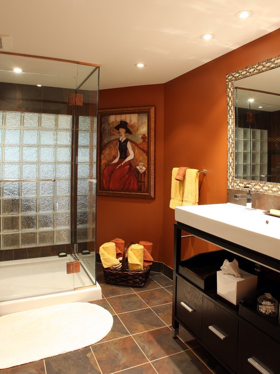 Burnt Orange Walls With Espresso Cabinets Color My World