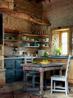Boho Kitchen, Rustic Kitchen, Kitchen Dining, Kitchen Decor, Kitchen Soffit, Kitchen Walls, Stone Kitchen, French Cottage, French Farmhouse