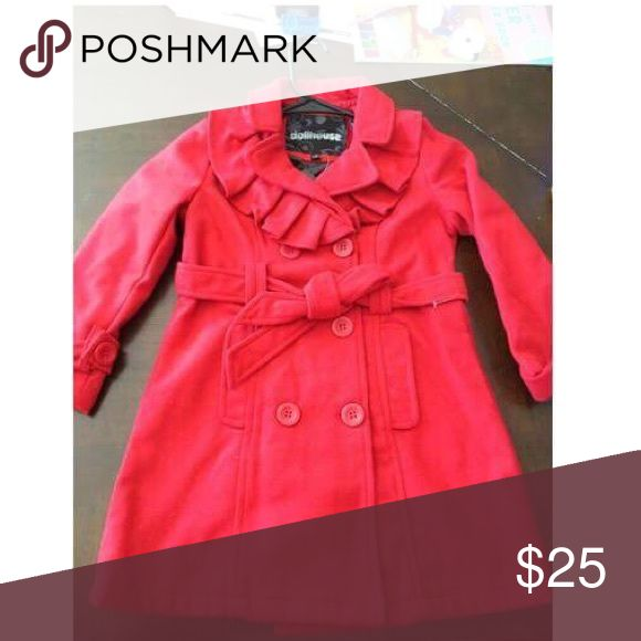 Cute little girls Valentine's red pea coat size 4T Adorable red little girls pea coat with red ruffle! Super cute for any occasion especially Valentine's Day! Jackets & Coats Pea Coats