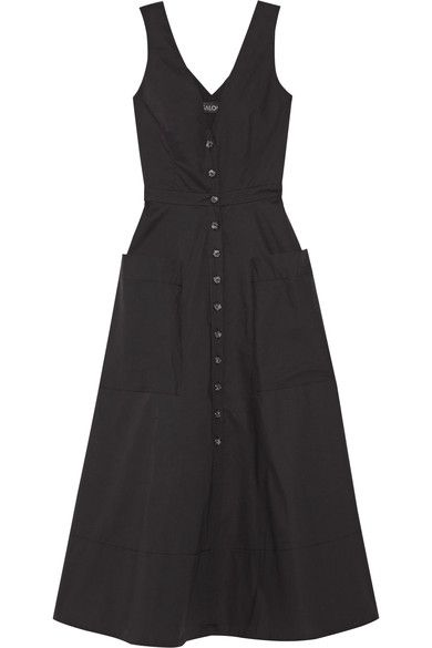 Saloni - Zoey Cutout Stretch-cotton Poplin Midi Dress - Black - UK6
