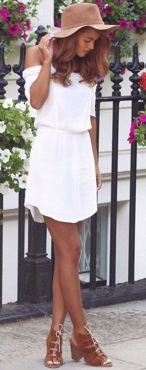 #spring #fashion | OTS White Little Dress + Pop Of Camel | Nada Adellè