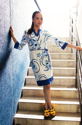 meyeri bamboo batik dress - on woven bamboo material