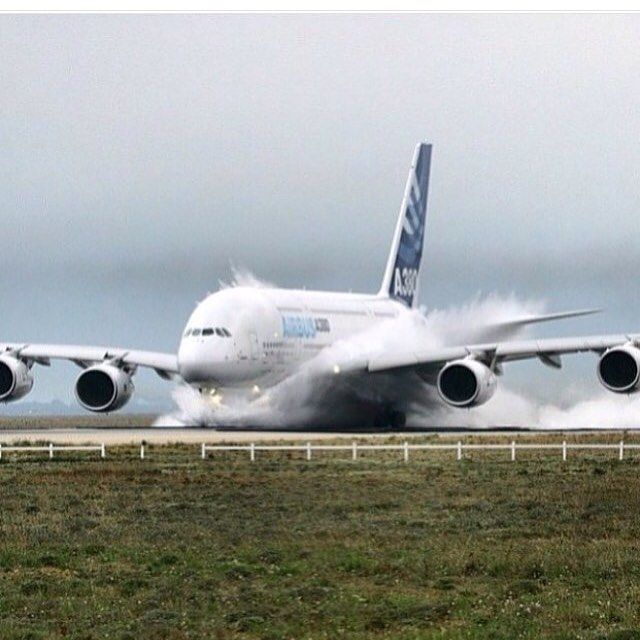 Water on the runway with A-380.                                                                                                                                                                                 More