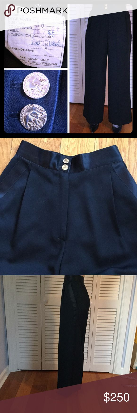 CHANEL tuxedo pants sz 36/2 gold buttons CHANEL tuxedo pants with satin stripe. Amazing gold buttons! Tagged 36, US equivalent 2. CHANEL Pants Trousers