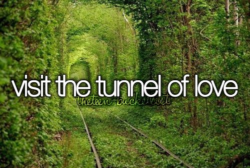 Ukraine | #BUCKETLIST - to visit the Tunnel of Love. This gorgeous long, leafy tunnel looks like a green dream or a scene from a film - but it can actually be found deep in the forests of Ukraine. Located near the town of Kleven (Клевань), this luscious green tunnel provides passage for a private train that provides wood to a local factory. Measuring 1.8 miles long, the unusual rail route in Eastern Europe is also a popular spot for lovers' promises.