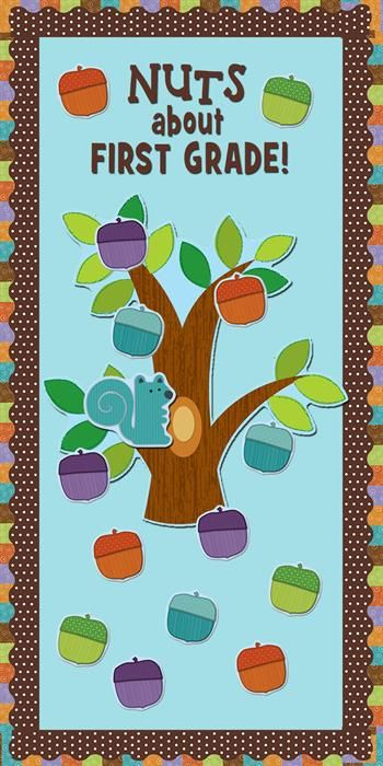 Love these fun designs from Carson Dellosa. Check them out here: http://www.mpmschoolsupplies.com/ideas/4863/nuts-about-first-grade-bulletin-board-idea/