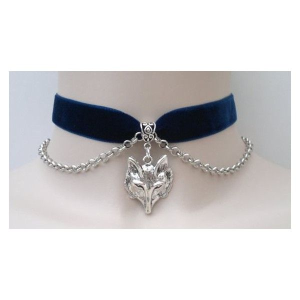 Large FOX/WOLF Head Charm Pendant With Chain Navy BLUE Velvet 16mm... ❤ liked on Polyvore featuring jewelry, pendants, ribbon charms, navy blue jewelry, chains jewelry, wolf pendant and navy charms
