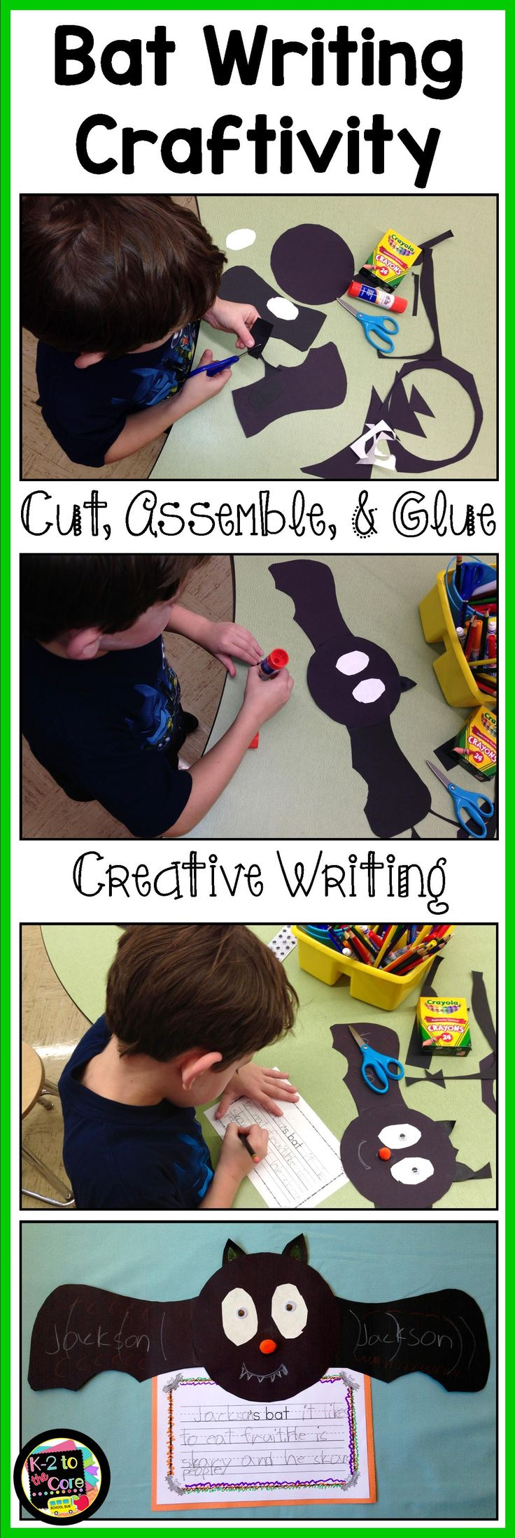 This engaging Halloween project will have your kindergarten, first, or second grade students exercising their creative writing skills as well as their fine motor muscles and visual/perceptual skills. All of this is happening as the children cut, glue, and assemble a bat; and then write about it! This craftivity will spookify your classroom in anticipation for Halloween. These projects are perfect to hang on a classroom wire or bulletin board. They also look great as a hallway display.