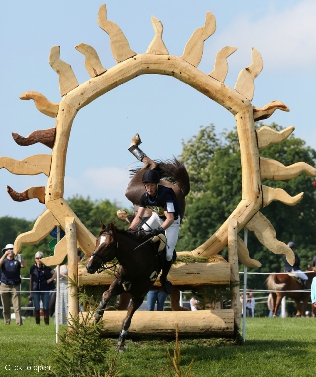 Xavier Snackers and Ramses De Hurtebise Ewalco miraculously stay on their feet during the cross-country phase of Bramham International Horse Trials. They went on to complete the course, finishing 29th in the CCI three-star competition.