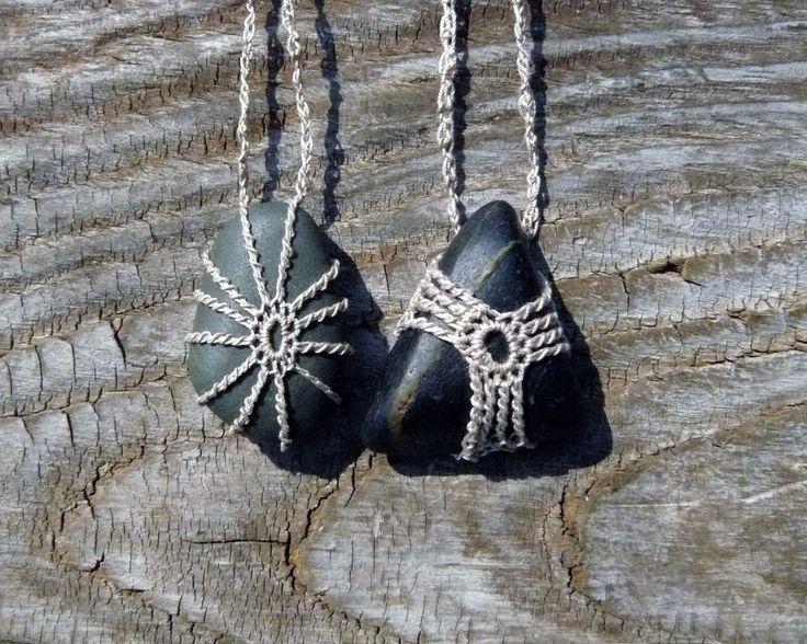 crocheted stone pendant