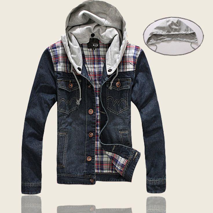 2-farbige Hut kann ausziehen Mann jeans mantel bunt karierte patchwork vintage design-taste tasche männer winter jeans oberbekleidung mode(China (Mainland))