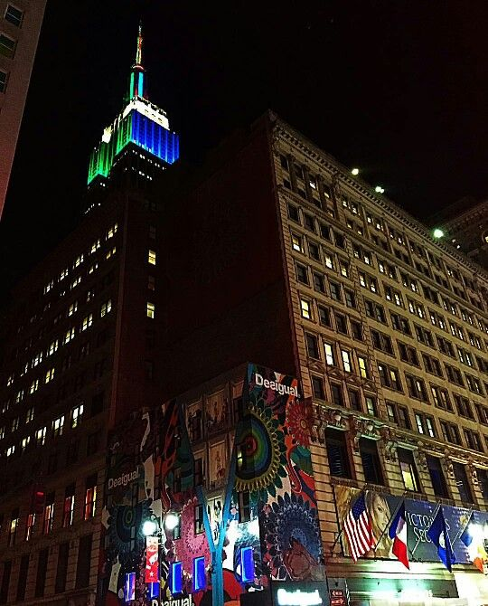 Empire State building lit up in NY Giants and NY Jets colors for their game tomorrow. 12-5-15