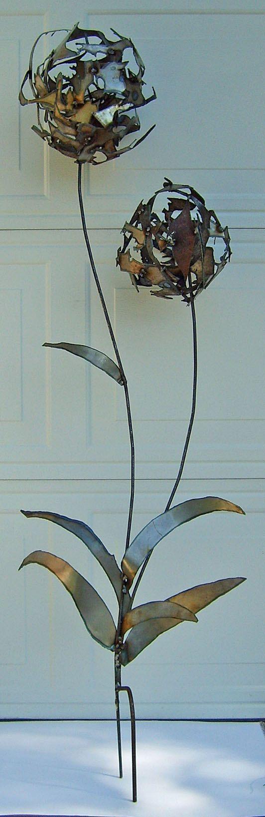 Metal Scrap Dandelions scrap steel lawn ornament by TheIronPhoenix