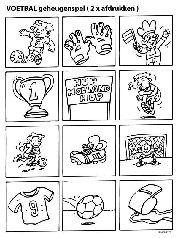 Kleurplaat Geheugenspel EK voetbal - Kleurplaten.nl