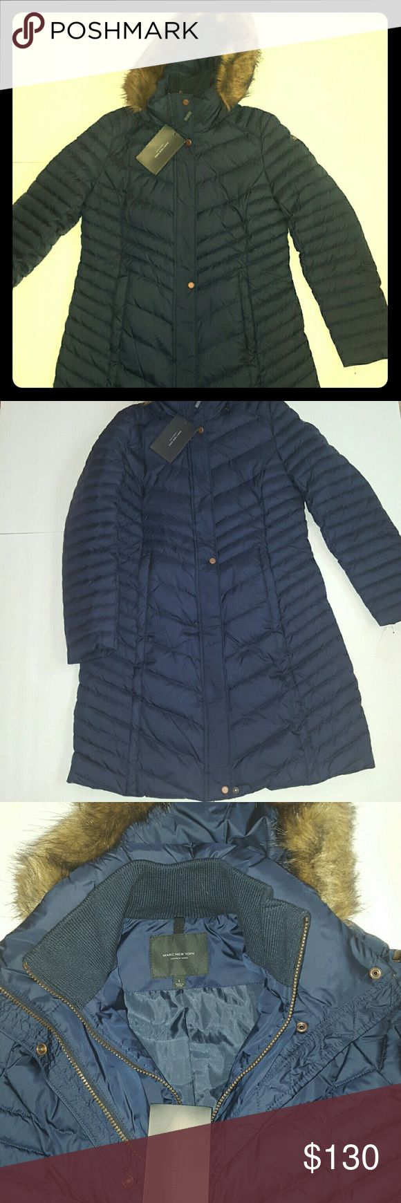 Andrew Marc parka NWT past the knees parka Large. Navy blue Feather down. Double zip. Andrew Marc Jackets & Coats