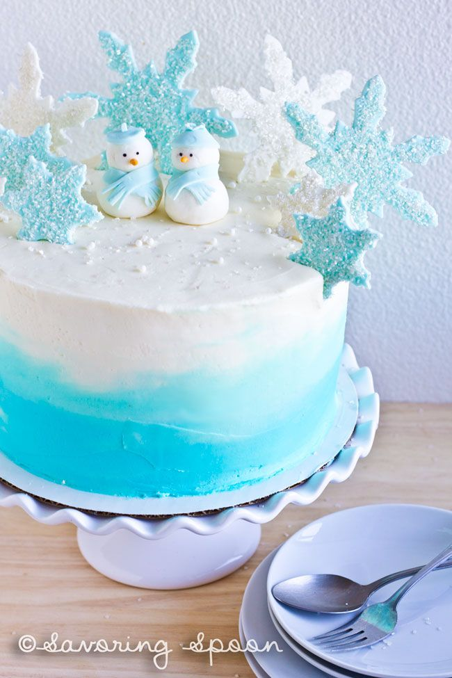 Winter Wonderland Ombre Cake ~ with step-by-step pictorials on decorations. 100% VEGAN :O oh yes ~ www.savoringspoon.com
