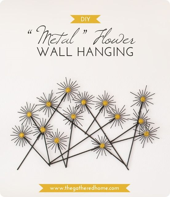 DIY Wall Decor | Metal Flower Wall Art {Crate & Barrel knock off} ~ Made with bamboo skewers and dowels!