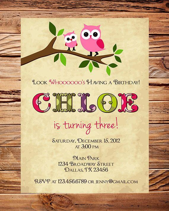 Owl Birthday Invitation, Girl Birthday Invite Owl, Boy Owl Birthday Invitation, Owl, Pink, Blue, Digital, Printable (Item4029) on Etsy, $26.00