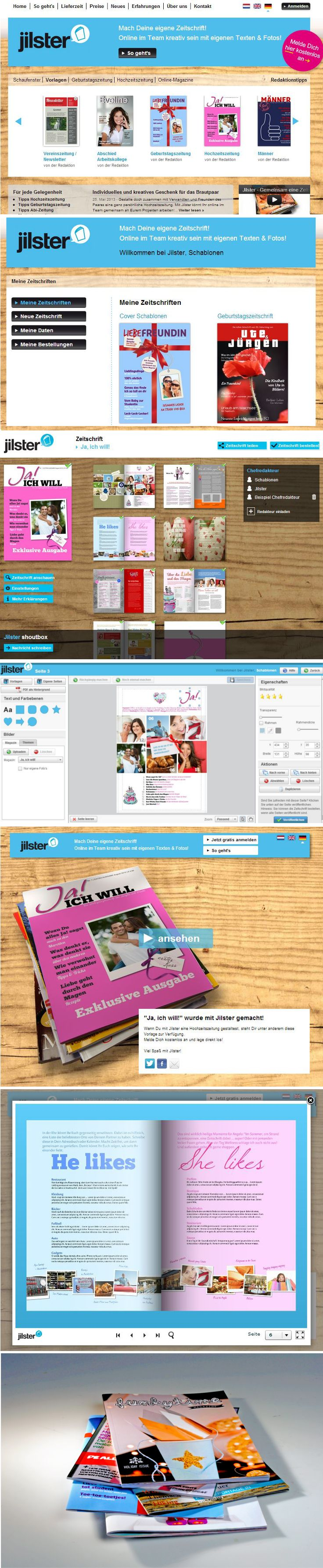 Mit Jilster kannst du zusammen eine eigenen Zeitschrift gestalten Arbeite gemeinsam mit Freunden Familie oder Kollegen eine eigene Zeitschrift