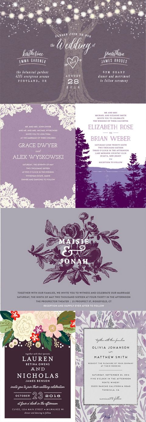 Planning a perfectly purple wedding? Shop Minted's collection of unique purple designs for your wedding invitation suite at Minted.com