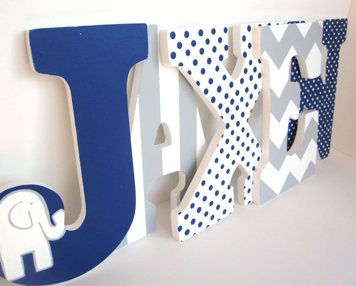 Navy Blue Elephant And Grey Chevron Letters Boy Nursery Wall Decor Nine Inch