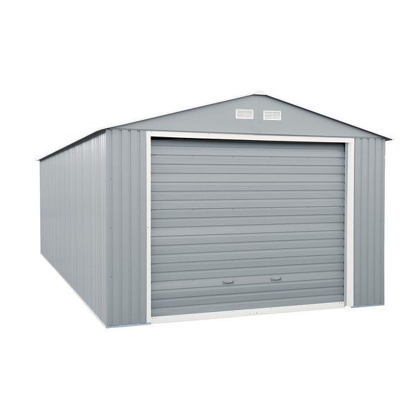 Imperial 12 Ft W X 20 Ft D Metal Garage Shed With Images Steel Storage Sheds