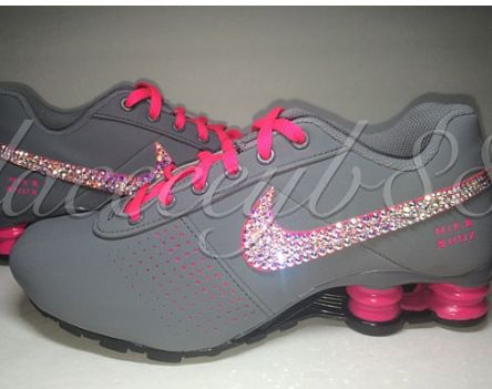 2015 Rhinestones Shoes Bling Swarovski Nike Shox Deliver-Girls