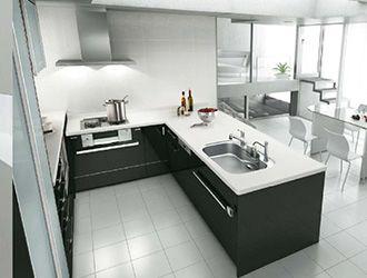 センターキッチン・収納タイプペニンシュラL型キッチン