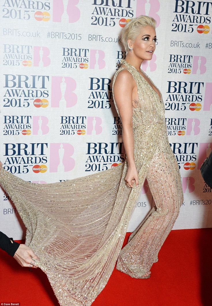 Rita Ora flaunts her gorgeous dress at the BRITs 2015