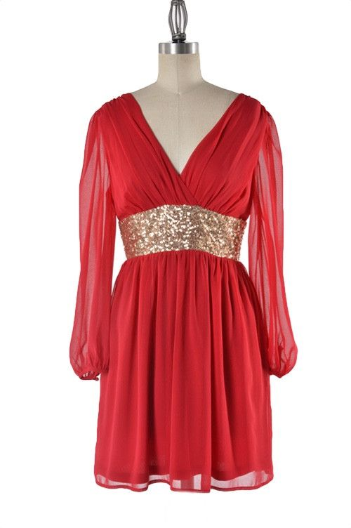 Roman Goddess Long Sleeve Sequin Dress - Red + Gold NOW AVAILABLE!