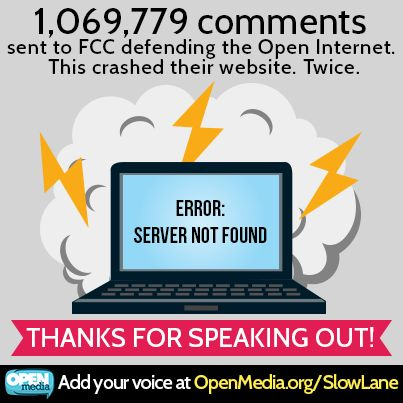 Woah, Internet users have posed over 1 million comments against Big Telecom's plan to create an Internet slow lane. Good job! Make sure to speak out at https://OpenMedia.ca/SlowLane if you haven't already!