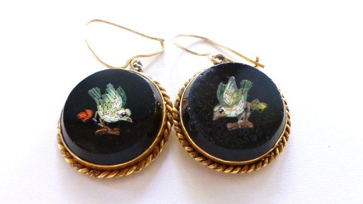 Pietra dura antique earrings.