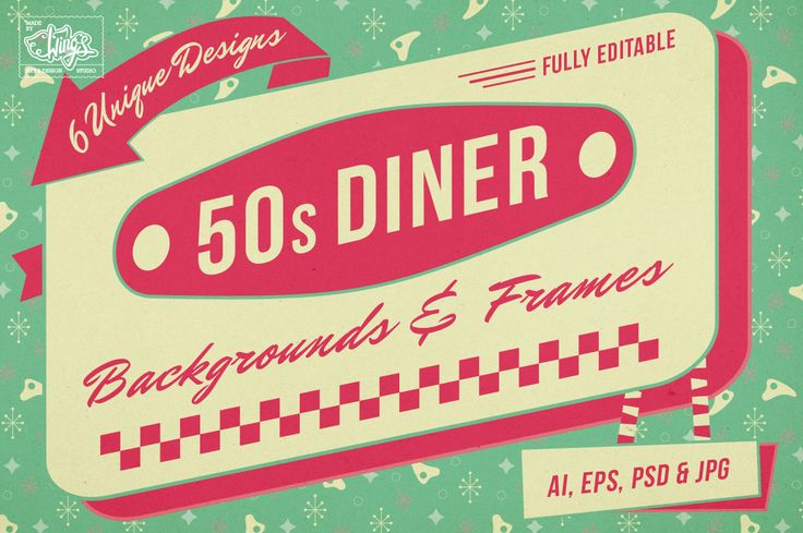 1950s Diner Backgrounds and Frames by Wing's Art and Design on Creative Market